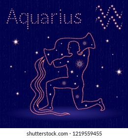 Zodiac sign Aquarius on the starry sky, hand drawn illustration with stylized stars over blue seamless background