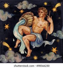 Zodiac sign - Aquarius. Watercolor Illustration.