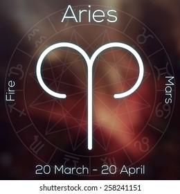 Zodiac sign - Aries. White line astrological symbol with caption, dates, planet and element on blurry abstract background with astrology chart. ?an be used for horoscopes.