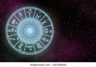 Zodiac sign astrology graphic desgin on galaxy with stars field and copy space on right.