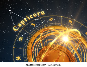 Zodiac Sign Capricorn And Armillary Sphere On Blue Background. 3D Illustration.