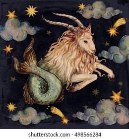 Zodiac sign - Capricorn. Watercolor Illustration.