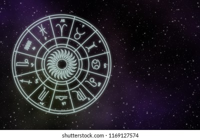 Zodiac sign on galaxy background illustration astrology design for decoration.