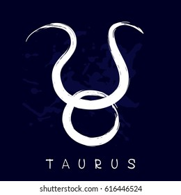 Zodiac sign Taurus isolated on blue background. Design element for flyers or greeting cards.
