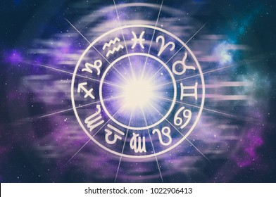 Zodiac signs inside of horoscope circle - astrology and horoscopes concept - retro style