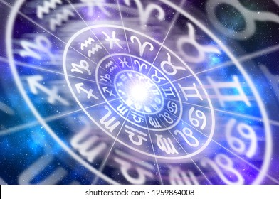 Zodiac signs inside of horoscope circle - astrology and horoscopes concept