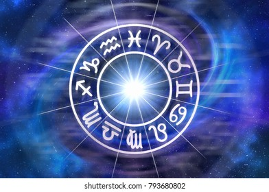 Zodiac signs inside of horoscope circle - astrology and horoscopes concept. 3D illustration.