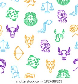 Zodiacal Thin Line Seamless Pattern Background Include of Libra, Sagittarius, Taurus, Gemini and Capricorn . illustration of Zodiac Signs