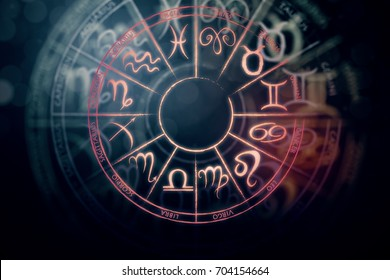 Zodial sign horoscope cirlce on dark background. Creative background. Tomorrow concept. 3D Rendering