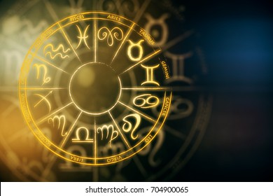 Zodial sign horoscope cirlce on dark background. Creative background. Future concept. 3D Rendering