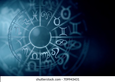 Zodial sign horoscope cirlce on dark background. Creative background. Astronomy concept. 3D Rendering