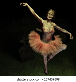 Zombie Ballet - A zombie dances the ballet on a grave.  Wearing a traditional ballet outfit stained with blood and dirt.