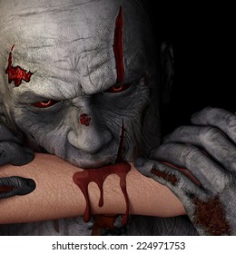 Zombie - Bite.  A zombie with red eyes is biting a person's arm. Happy Halloween.