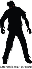 Zombie black silhouette isolated on white