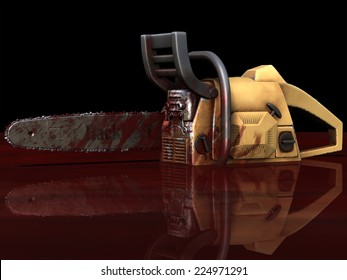 Zombie - Bloody Chainsaw.  A Chainsaw sitting in a pool of blood that was used to combat a group of zombies. Happy Halloween.