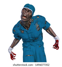 zombie doing a mad scream. This infected monster in clipping path is very useful for yours halloween graphic design creations, 3d illustration
