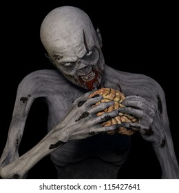 Zombie Eating Brain: An undead Zombie glaring at you while munching on a brain. Isolated on a black background.
