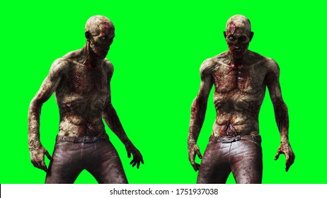 Zombie green screen isolate. Realistic 3d rendering.
