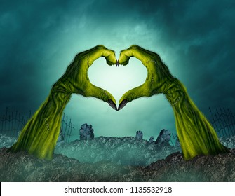 Zombie hand heart shape in a creepy night graveyard background as a green halloween arms emerging from a cemetary grave or scary symbol in a 3D illustration style.