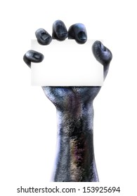Zombie hand holding a blank card. Room for text or copy space for advertisement on a white background.