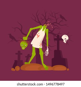 Zombie man holds his head in his hand on cemetery background Concept. Halloween Nightmare landscape with dead people. Panorama of undead monster and gravestone. Flat Art Rastered Copy