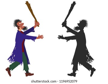 Zombie man with mask on the face and truncheon in hand. Trick or treat  dress of  man ghost. Detailed color image and its silhouette. Raster version.