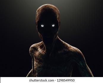 Zombie or monster in the dark, 3d rendering