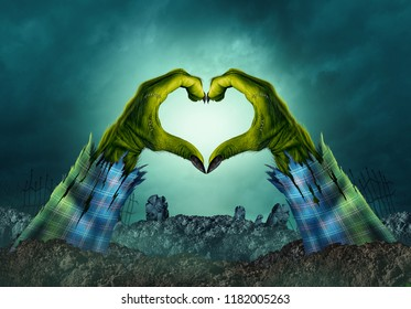 Zombie monster hand heart background in a creepy night graveyard as halloween green arms emerging from a cemetery grave with 3D illustration elements.