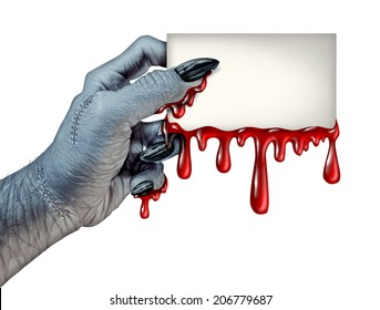 Zombie monster hand holding a blank blood dripping card sign on a side view as a creepy halloween or scary symbol with textured skin monster fingers and stitches isolated on a white background..