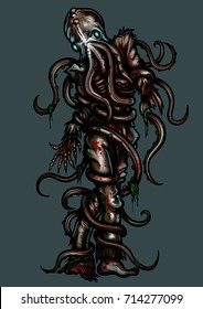 Zombie with octopus head. Illustration zombie man with octopus on his head and tentacles entangled his body