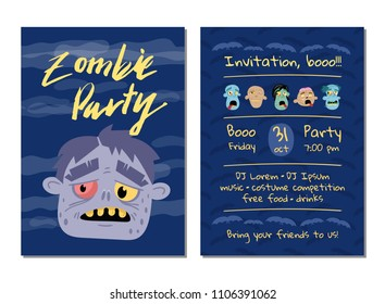 Zombie Party Invitation With Monster Head Halloween Event Advertising Funny Undeads Festive Cute