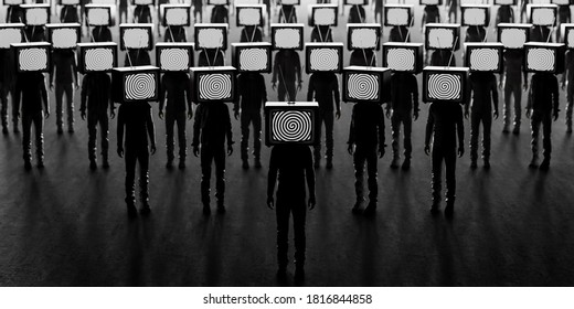Zombie people with an old tv instead of head. Mass media addiction. Television manipulation and crowd control. Brainwashing concept. 3d render 3d illustration
