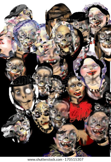 a zombie picture, a crowd with heads that look like heads of zombies, over a white background, horror movie, raster illustration, zombies dressed like people in a ball room