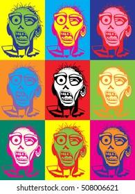 Zombie pop art style illustration multicolor poster