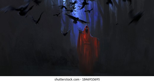Zombie in red robe, digital painting.
