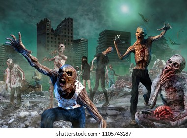 Zombie Scene 3D illustration
