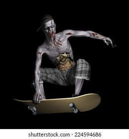 Zombie - Skateboarder.  A zombie with his ribs and entrails showing riding a skateboard. Happy Halloween.