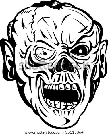 zombie skull face isolated on white stock illustration royalty Radioactive Shelter zombie skull face isolated on white background
