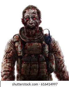 Zombie soldier shout concept. Drawing horror character illustration. Scary face picture. White color background.