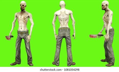 Zombie standing on green screen. 3D rendering