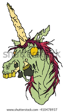 Zombie Unicorn Pixel Art Stockillustration 410478937 Shutterstock