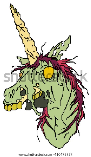 Zombie Unicorn Pixel Art Stock Illustration 410478937