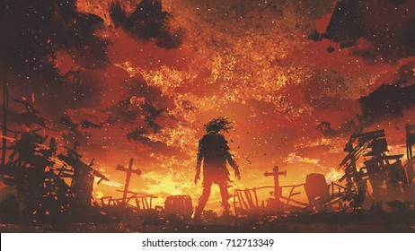 zombie walking in the burnt cemetery with burning sky, digital art style, illustration painting