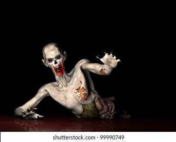 Zombie - Why Won't You Die!  Half of an Undead Zombie crawling through blood, reaching out for you. Isolated on a black background.