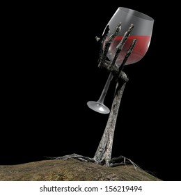 Zombie Wine - a zombie hand with roots growing out of the ground holding a glass of wine or blood. Isolated on a black background.