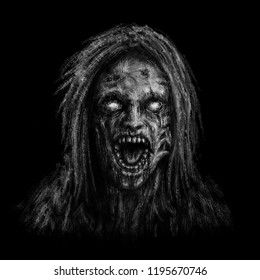 zombie woman face on black background. illustration in horror genre.
