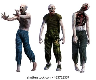 Zombies 3D illustration