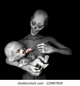 Zombies: Feeding Baby - Zombie mother feeding her baby a bloody spoonful of brains..Isolated on a black background.