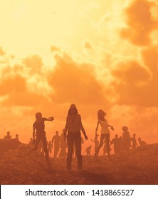 Zombies horde in badlands,Post-Apocalyptic concept ideas,3d rendering