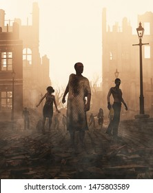 Zombies horde in ruined city after an outbreak,3d illustration for book cover,Vertical
